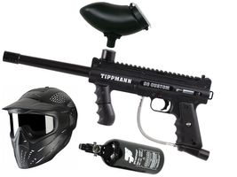Tippmann 98 Custom PS ACT .68 Cal schwarz,0,8l HP, JT Premise Headshield single, Munbox