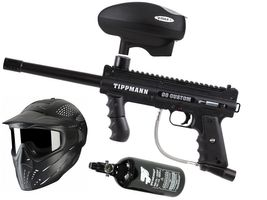 Tippmann 98 Custom PS ACT .68 Cal schwarz, 0,8l HP, JT Premise Headshield single, Valken V-Max+