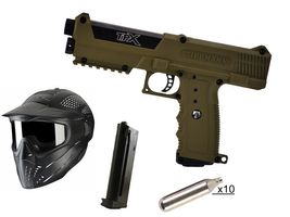 Tippmann TiPX Paintball Pistol .68 Cal Coyote brown, 10x 12g CO2 capsules, JT Premise Headshield single
