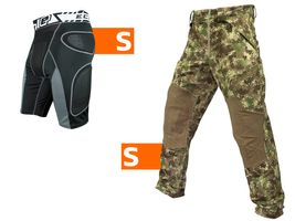 Planet Eclipse Combo Paintball Elite Hose HDE camo inkl. Slider Shorts Overload Gen2 schwarz S / S